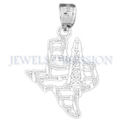Rhodium-Plated 925 Sterling Silver Texas Oil Rig Pendant