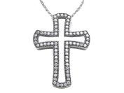 Zoe R(tm) Sterling Silver Micro Pave Hand Set Cubic Zirconia (CZ) Medium Cross Pendant
