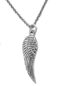 .925 Sterling Silver Angel Wing Charm Necklace 45.7cm