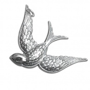 925 Sterling Silver Flying Sparrow Bird Charm Pendant