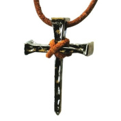 Nail Cross Necklace Christian Pendant Jewellery on Leather Cord