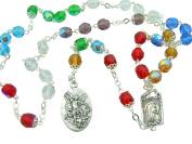 Catholic Rosary Multi Colour Crystal Saint Michael Rosary Chaplet Holy Card SET