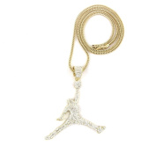 ICED OUT GOLD AIR JORDAN PENDANT & 91.4cm FRANCO NECKLACE CHAIN