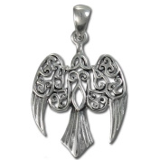 Sterling Silver Small Morrigan Raven Pendant by Dryad Design