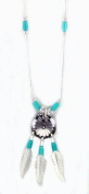 Beautiful! Sterling-silver Hishi South western Concho-turquoise pendant necklaces