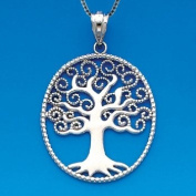 Sterling Silver Tree of Life Necklace Pendant with Box Chain