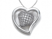 Zoe R(tm) 925 Sterling Silver Micro Pave Hand Set Cubic Zirconia (CZ) Heart Shape Pendant On 45.7cm Chain