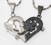 Lovers /Couple Four-leaf Clover Pendant Set, Fine Stainless Steel