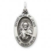 Sterling Silver Antiqued Sacred Heart of Jesus Medal