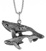 Sterling Silver Whale w/ Baby Pendant, 1.9cm Tall