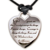 Serenity Prayer Heart Leather Necklace