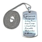 Serenity Prayer Stainless Steel Designer Dog Tag Necklace