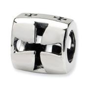 .925 Sterling Silver Maltese Cross Bead