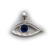 Sterling Silver Greek Key Evil Eye Pendant