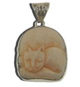 Sleeping Cat Kitty Pendant Bali 925 Sterling Silver