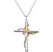 Silver Plated Two Tone Cross in Gold Accent Ribbon Pendant Necklace & Chain