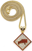 Trukfit Iced Out New Pendant Necklace Gold With Red Colour With 91.4cm Franco Style Chain