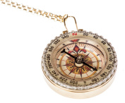 Woman's Large Golden Compass Necklace With Gold Chain