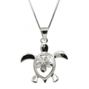 Sterling Silver Turtle Honu with Plumeria Necklace Pendant with Box Chain
