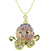 Purple on Gold Plated Princess Carriage Necklace