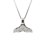 Sterling Silver Whale Tail with Plumeria Necklace Pendant with Box Chain