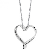 """Sterling Silver """"A Mother Holds Her Child's Hand For A Short While and Their Hearts Forever"""" Ribbon Heart Pendant Necklace, 45.7cm"""