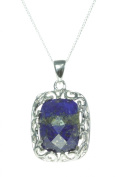 Contemporary 925 Sterling Silver Women Pendant + Chain with Lapis Lazuli - 28mm*17mm, 5 Grammes