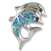 Black CZ and Synthetic Opal Sterling Dolphin Pendant