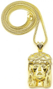 Crowned Jesus Large Gold Colour 2 Iced Out Pendant 91.4cm Necklace Franco Style Chain