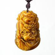 O-stone Natural Yellow Tiger Eye Chinese Zodic Series Dragon Healthy Pendant Necklace Grounding Stone Protection Amulet