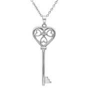 Diamond Key to Her Heart Pendant-Necklace in Sterling Silver on an 45.7cm Chain