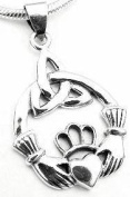 CLADDAUGH Celtic Knot Claddagh Pendant Sterling Silver