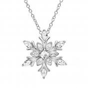 Sterling Silver Snowflake Pendant - Necklace with. Crystals