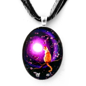 Flame Point Siamese Cat in Cherry Blossoms Handmade Jewellery Fine Art Pendant