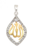 Sterling Silver & Yellow-Gold Plated Muslim Pendant with Cubic Zirconia Border