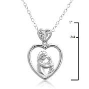 Diamond Mother and Child Heart Pendant-Necklace in Sterling Silver
