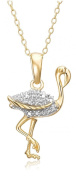 18k Yellow Gold Plated Sterling Silver Diamond Accent Flamingo Pendant, 45.7cm