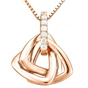 Rose Gold Plated Sterling Silver Cubic Zirconia Knot Pendant Necklace, 45.7cm