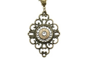 30-06 Filigree Bronze Diamond Bullet Necklace with. Crystals