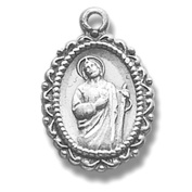 Sterling Silver Petite Oval Shaped Patron St Saint Jude Medal Pendant