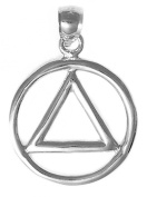 Alcoholics Anonymous AA Symbol Pendant #05-1, 2.4cm Wide, 1-0.8cm Tall and 0.6cm Thick, Sterling Silver, Heavy Wire Look