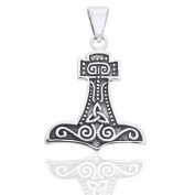 Norse Symbols and Celtic Knot - Nordic Viking God Thor's Hammer Sterling Silver Pendant