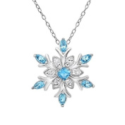 Sterling Silver Snowflake Pendant - Necklace with Blue and White. Crystals