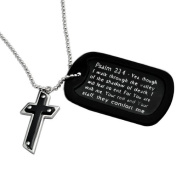 Military Dog Tag Psalm 23:4 Prayer with Two Tone Cross Pendant Necklace