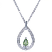 """8x5mm 0.80 CT Pear Shape Peridot & Diamond Pendant in Sterling Silver with 18"""" Chain"""