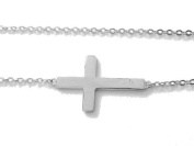 .925 Sterling Silver Sideways Cross Necklace Adjustable Chain 45.7cm