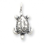 Sterling Silver Antiqued Sea Turtle Pendant - JewelryWeb
