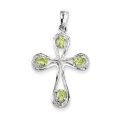 Sterling Silver Rhodium Peridot & Diamond Cross Pendant