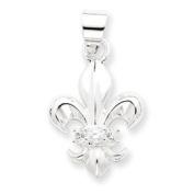Sterling Silver CZ Fleur de lis Pendant - JewelryWeb