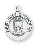 Sterling Silver First Communion Gift Medal Pendant Chalice Eucharist